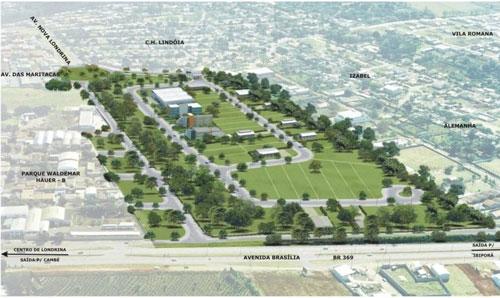 Vista aérea do Parque Tecnológico de Londrina Francisco Sciarra